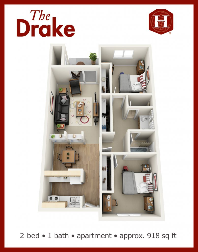 Aerial 3d layout of 918 square foot 2 bed 1 bath unit