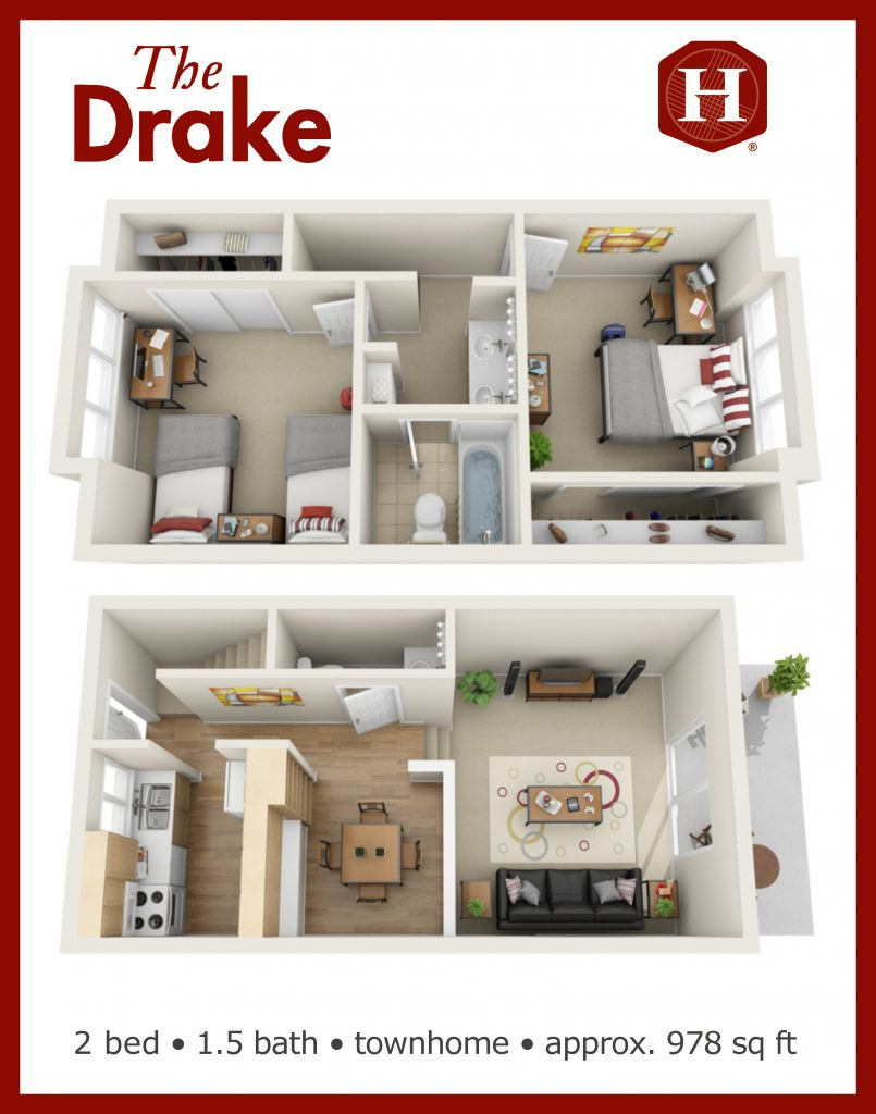 3d aerial vew of 2 bedroom one and a half bathroom 978 square foot townhouse